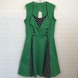 NWT Green Polka Dot Retro Dress Sz XL 1950s VLV